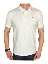Mens Replay Tipped Logo Branded White Polo Shirt in Size Large