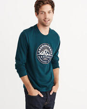Abercrombie & Fitch T-Shirt Mens Applique Embroidered Logo L/Sleeve 2XL Teal NWT