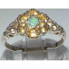 Victorian Ladies Solid Sterling Silver Natural Fiery Opal & Citrine Daisy Ring