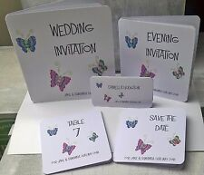 Retro Butterflies Handcrafted Personalised Wedding Stationery- invites etc