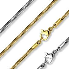 Unisex 17-21 inch long Stainless Steel Snake Chain Necklace Gold Plated or Steel