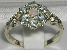 Victorian Solid 925 Sterling Silver Natural Fiery Opal & Aquamarine Daisy Ring