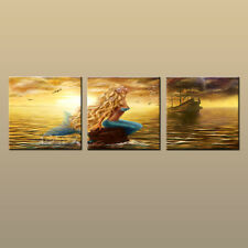 Modern Home art Decor Fantasy mermaid pirate ship oil painting Printed on canvas