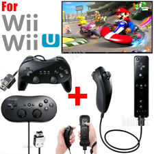 Black Remote Controller & Nunchuck Classic Controller Pro For Nintendo Wii/Wii U