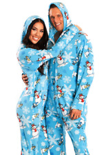 Unisex Frosty Blue Snowmen Adult Sized Footed Holiday Christmas Hoodie Pajamas