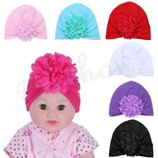 Newborn Baby Girls Kids Soft Cotton Hat Floral Knotted Beanie Hospital Cap 3PCS