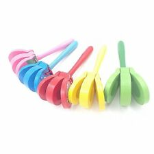 Lovely Cartoon Wooden Castanets Baby Musical Toys Bright Colors for Gifts LN