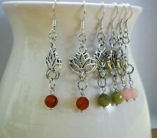 Silver Lotus Flower Gemstone Handmade Hook Earrings Jade, Citrine, Rose Quartz