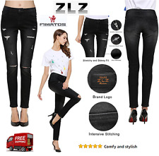 Casual Destroyed Ripped Distressed Stretch Jeans Legging,Black,Original ZLZ