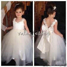 White Baby Girl Kid Strap Princess Pageant Lace Bowknot Tulle Formal Party Dress