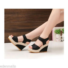 Womens Fashion shoes Wedge Heels Lace Sandals lady Platform High-heeled Sandals