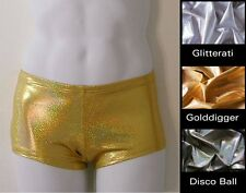 MENS Low Rise Square Cut Swimsuit in Gold, Silver, Disco Ball Hologram S-M-L-XL