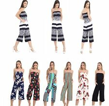 Womens Ladies Bandeau Multi Floral Print Culotte Cropped All In One Jumpsuit