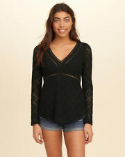 Abercrombie & Fitch – Hollister Womens Top Blouse Lace V-Neck XS or S Black NWT