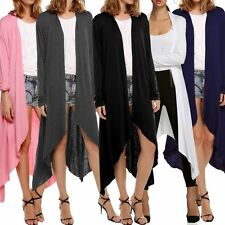 Women Cardigan Loose Sweater Irregular Hem Outwear Jacket Coat Top Long Sleeve