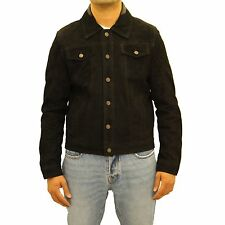 Mens Black Soft Suede Leather Casual Fitted Denim Style Western Trucker Jacket