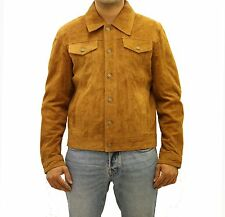 Mens Brown / Tan Soft Suede Leather Denim Style Western Trucker Summer Jacket