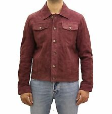 Mens Burgundy / Red Real Suede Leather Denim Style Western Trucker Summer Jacket