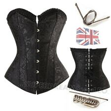Sexy Lace up boned Overbust Corset Basque Training Popular Black Floral 6-16 UK