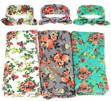 Newborn Baby Kids Infant Floral Cotton Blankets Swaddle Wrap Towel Headdress Set