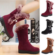 Winter Women Lady Fur Plush Lined Warm Mid Heels Suede Mid Calf Shoes Boots Size