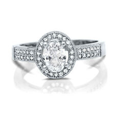 Sterling Silver Oval CZ Halo Engagement Wedding Ring Pave 1 ct.tw