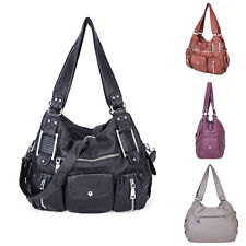 Ladies Washed PU Leather Tote Bags Women's Handbags Casual  Canvas Bags Satchel
