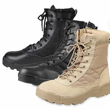 Mens Jungle Tactical Comfy Leather Combat Military Ankle Boots Work Desert Shoes