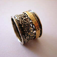 Sterling Silver Wide Filigree 14k Gold Band Ring.