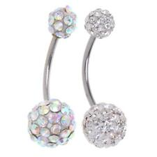 Women Charm Navel Belly Bar Button Ring Crystal Gem Stainless Steel Piercing