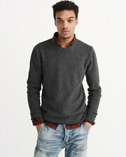 Abercrombie & Fitch Sweater Men's Pullover Winter Cotton Crew Neck L XL Grey NWT