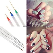 3pcs Nail Art Design Acrylic Drawing Painting Striping UV Gel Pen Brush Set