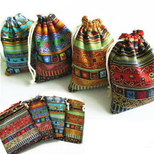 Wonderful 3x 9.5x12cm Linen Bunt Tribal Drawstring Jewellery Gift Bag Pouches FO