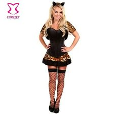 Women Sexy Animal Fancy Dress Leopard Tiger Catwoman Halloween Party Costume