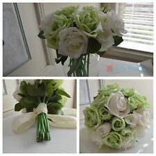12 inch 30 cm wedding bridal bouquet home decor artificial silk flowers 18 roses