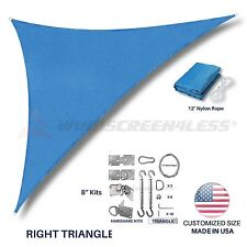 Custom Size Blue Right Triangle Sun Shade Sail Outdoor Canopy Awning W/6 in Kit