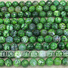 "Green Natural Agate Enhanced Crack Faceted Round Loose Beads 15.5"" One Strand"