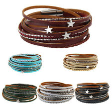 Faux Leather Wrap Bracelet Wristband Cuff Star Charms Magnetic Buckle Bangle