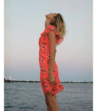 NWT Express Neon Floral Print Asymmetrical Ruffle Dress Value $80 Sold out