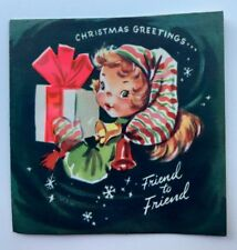 Vintage Christmas Card Pretty Girl Dress Present 3D Pink Bow Snowflake Bell Cute