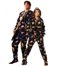 Unisex Electric Guitars Black Polar Fleece Adult Sized Footed Hoodie Pajamas