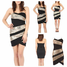 NEW WOMENS LADIES SLEEVELESS GOLD SEQUIN PANEL BODYCON BANDEAU PARTY MINI DRESS