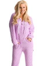 Unisex Purple Polka Dots Chenille Hooded Adult Sized Footed Holiday Pajamas