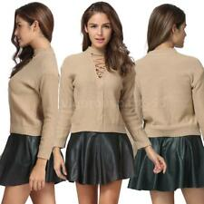 Elegant Autumn Winter Women Girls Hollow Out Knitted Sweater Tops Pullover A4Q2
