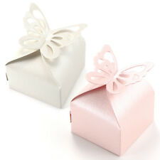 50pcs Butterfly On Top Candy Boxes Gift Wrap With Ribbon Wedding Party Favor