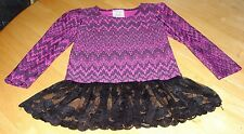 RANDOM HEARTS BABY GIRLS LONG SLEEVE FUSCHIA TUNIC WITH LACE BOTTOM NEW WITH TAG