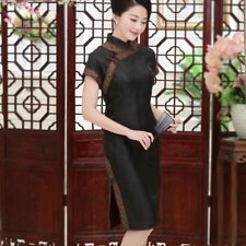 Cambiered Guangdong Silk Chinese Traditional QiPao Stand-up collar Short Sleeves