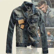 Men Stylish Slim Fit Thicken Casual Lapel Coat Jean Biker Denim Jacket Outerwear