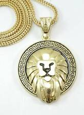 "GOLD Plated Lion Pendant Necklace 36"" Franco Chain #87"