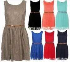 LADIES WOMENS BELTED LACE SHIFT WOMENS SKATER SLEEVELESS DRESS TOP SIZE 8-14